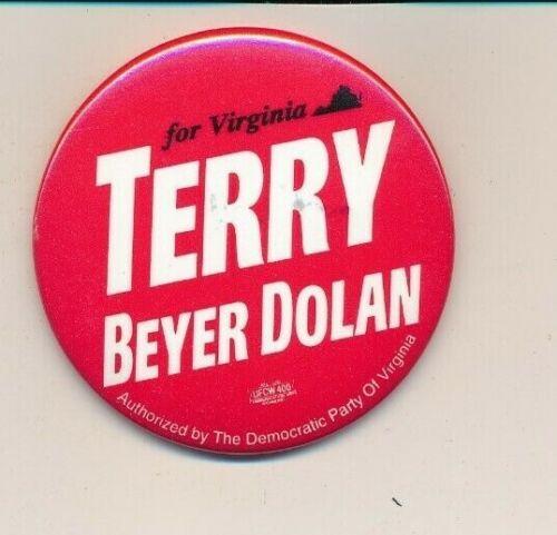 """1993 Terry for governor 2 1/4"""" cello Virginia VA campaign button"""