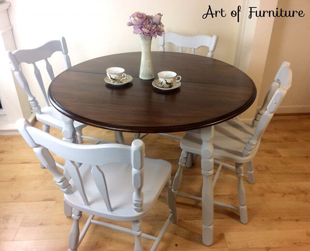 Vintage Rustic Carved Oak Dining Set Of Round Drop Leaf Dining