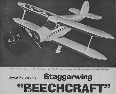 Model Airplane Plans  Rc   Staggerwing Beechcraft Near Scale 53  Wingspan