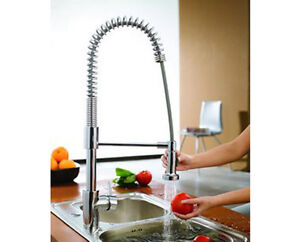 New Dual Swivel Pull-out Pullout Spray Kitchen Sink Faucet High Neck - Chrome