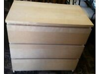 Ikea Hemnes Three Drawer Chest