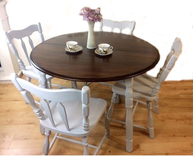 Amazing Set Of Dining Kitchen Country French Style Grey Rustic Oak Table With 4 Chairs Hand Painted Upcycled In Bournemouth Dorset Gumtree Beutiful Home Inspiration Xortanetmahrainfo