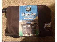 RRP£23 Man Cave facial scrub face wash moisturiser toiletries wash bag gift set for him