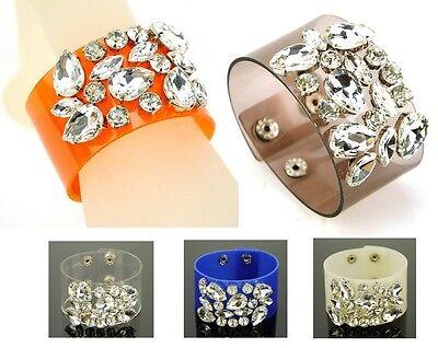 Women Jelly Chunky Crystal Bracelet PVC Bangle Statement Cuff Wristband - Crystal Jelly Bracelet