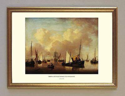 Jan van Os Stille See Boote Schiffe holländ. Marine Maler 8 Faks im Goldrahmen