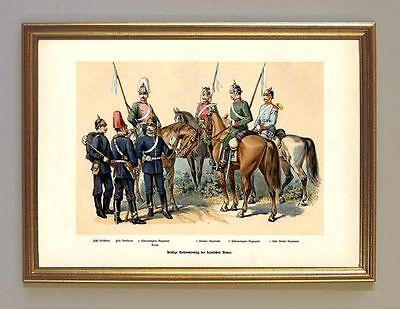König Ludwig II Uniformen bayrische Armee Reiter Ulanen 85 Faksimile Goldrahmen