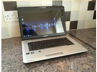 "TOSHIBA L450D LAPTOP 15.6"", AMD 2.10GHz, 3GB, 120GB, WIFI, HDMI, WEBCAM, DVD, OFFICE, ANTI-VIRUS, W7"