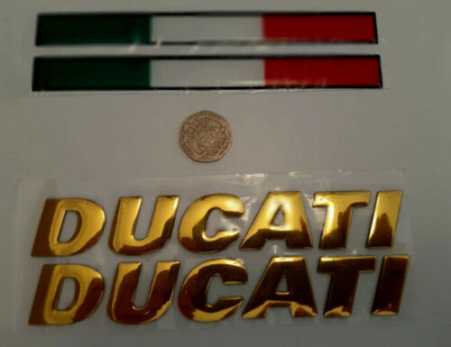 DUCATI+gold+%26+Italian+flag+4pcs+domed+3D+fairing+frame+decals+stickers+set+