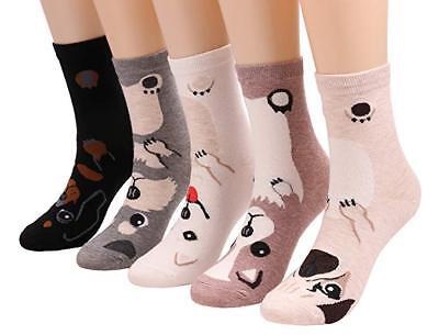 New Womens Socks Animal Dog Print Quarter Length 5 Pair Shoe Size 5-9 FREE - Animal Womens