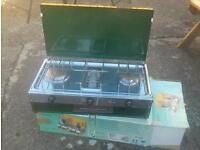 Double camping stove with grill