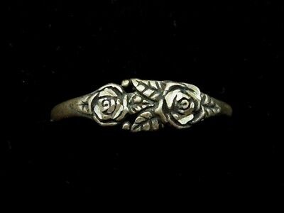 STERLING SILVER Diamond Cut DOUBLE ROSE Flower Ring