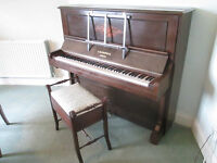Bechstein upright piano with stool