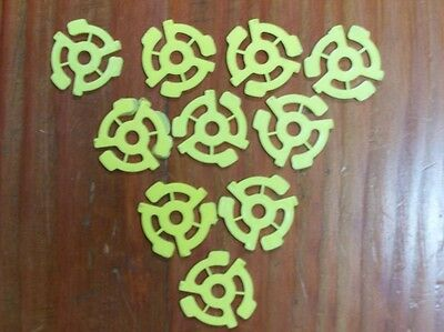 10 New Yellow Plastic 45 Rpm 7  Easy Snap In Record Inserts Or Spindle Adapters