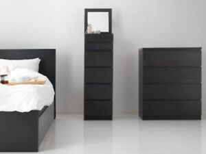 MALM DOUBLE BED & NIGHTSTAND + 2 dressers