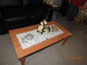 Wooden Coffee Table & 2 End Tables