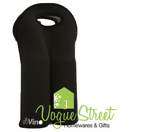 Go Vino Double Wine Neoprene Cooler Bottle Drink Bag Carrier Holder Black NEW