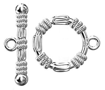 (ONE STERLING SILVER STRONG ROPE TOGGLE CLASP, MEDIUM SIZE, 17 X 12 MM)