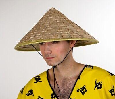 FM - Kostüm Zubehör Chinesen Hut Stroh naturfarben Karneval Fasching