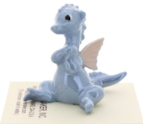 Hagen-Renaker Miniature Ceramic Baby Dragon with Wings Figurine in Blue
