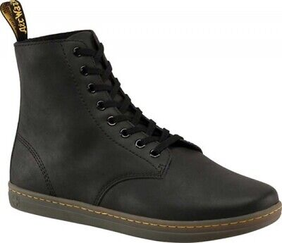 Black Greasy Leather Boot (NEW Mens Dr Martens Tobias 8 Eye Black Greasy Lamper Leather Boots AUTHENTIC )