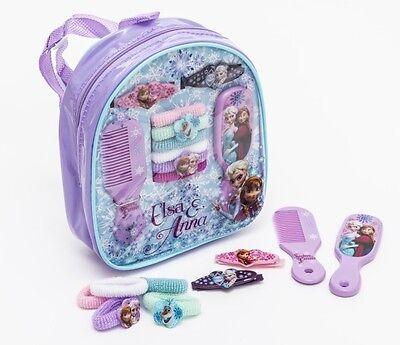 Disney Frozen Haarschmuck Set im Rucksack 6 Zöpfchenhalter 2 Haarklippchen 1 Kam