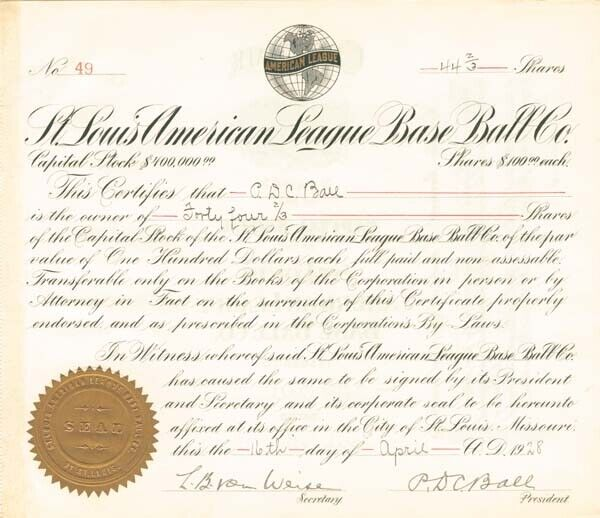 St. Louis American League Base Ball Company - Stock Certificate