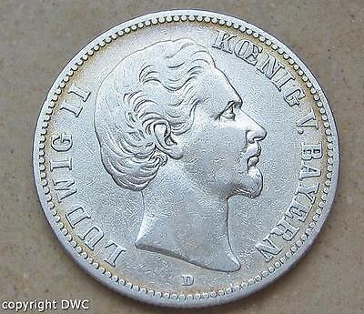 Coin Münze 2 Mark Ludwig II. König von Bayern 1876 D J 41 900 Silber Nr.10586