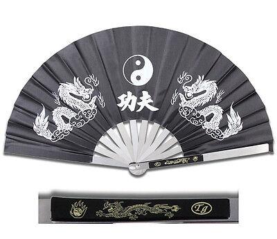 NEW HEAVY DUTY STEEL BLACK DRAGON KUNG FU TAI CHI FAN Martial Arts Hand Wushu