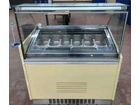 10 pot gelato ice cream display freezer