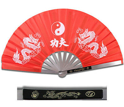 NEW HEAVY DUTY STEEL RED DRAGON KUNG FU TAI CHI FAN Martial Arts Hand Wushu