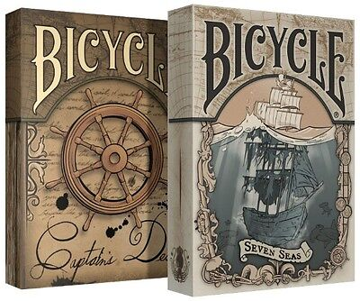Set of 2 Bicycle Seven Seas & Captains Deck Playing Cards New Limited