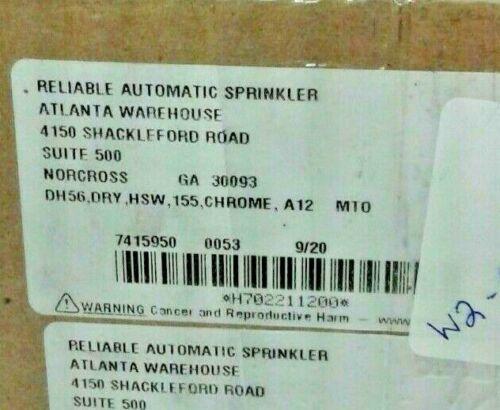 "DH56 155°F Chrome Dry Sprinkler Head K5.6 1"" x 12"" Horizontal Sidewall (4 Pack)"