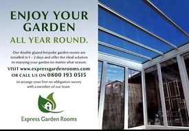 Double glazed Express garden rooms built in 2 days