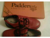 Size 4, never worn, Padders red walking shoe