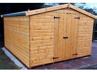 12X10FT NEW HEAVY DUTY GARDEN TIMBER SHED APEX PREMIUM QUALITY ASSEMBLED