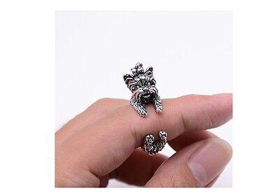 Yorkie Yorkshire Terrier Dog Rings - Silver - Adjustable (R9)