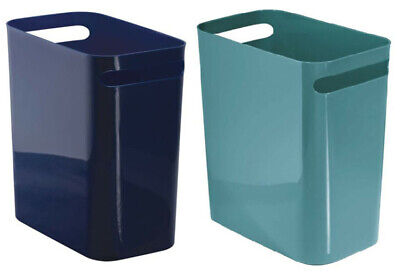 """InterDesign Una 12"""" Rectangular Waste Basket with Handles"""