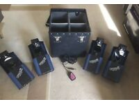 Set of Four Prolight Acme Dynamo Scanners (including Carry Case and C8 Light Controller)