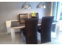 Black and silver table and chairs