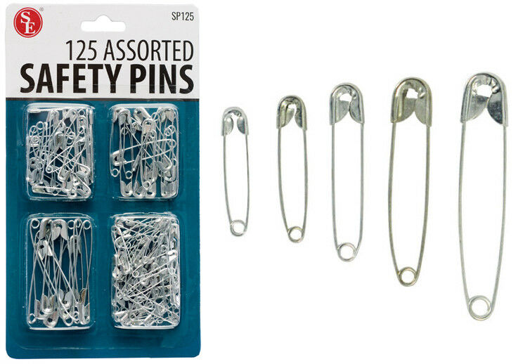 125 Safety Pins Set Assorted Set Sizes: 0 - 4 Diapers Sewing