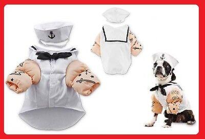 "Petco""Bootique""SAILOR""Navy Cap Shirt Hat Tattoo Dog Cat Costume Small Halloween"