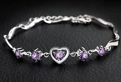 Sterling Silver Swarovski Elements Crystal Amethyst Heart Bracelet Chain Box (Swarovski Crystal Sterling Bracelet)