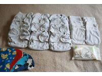 MOTHER-EASE 12 STAY DRY, RE-USABLE NAPPIES, 12 SNAP-IN BOOSTERS & LINERS: USED – BIRTH TO POTTY SIZE