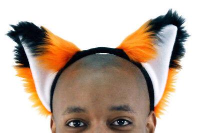 PAWSTAR Orange Fox Ears Headband - Best Adult Costume furry Black White [OR]3060](Fox Ears Costume)