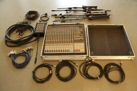 Allen & Heath GL2400 with flightcase, headphone amp, stage box, cables and mic stands