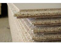 Over twenty 19mmx2400x600mm used chipboard flooring sheets