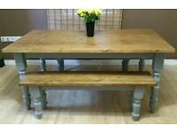 Handcrafted pine farmhouse dining Table with matching benches