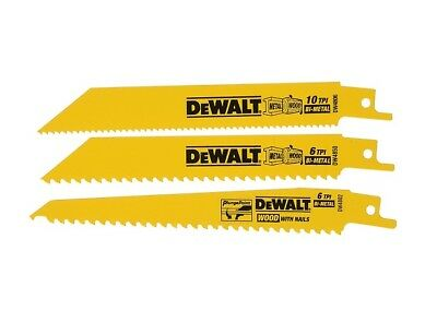 DeWALT Bi-Metal 3 Piece Reciprocating Saw Blade Set DW4853 with Free Shipping