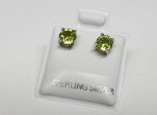 GENUINE PERIDOT Green Gemstone 925 STERLING SILVER Stud Earrings >NEW< 5mm