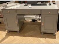 Grey Desk - Rose Gold Handles